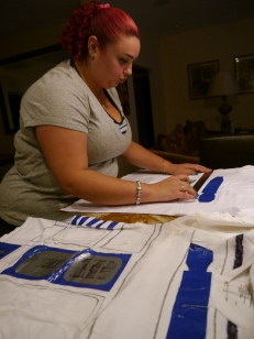 Gaby working on her R2-D2 shirt